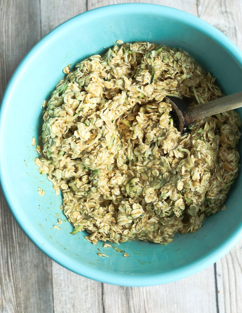 mixed up ingredients for Zucchini oatmeal Snack Bars with Chocolate Chips
