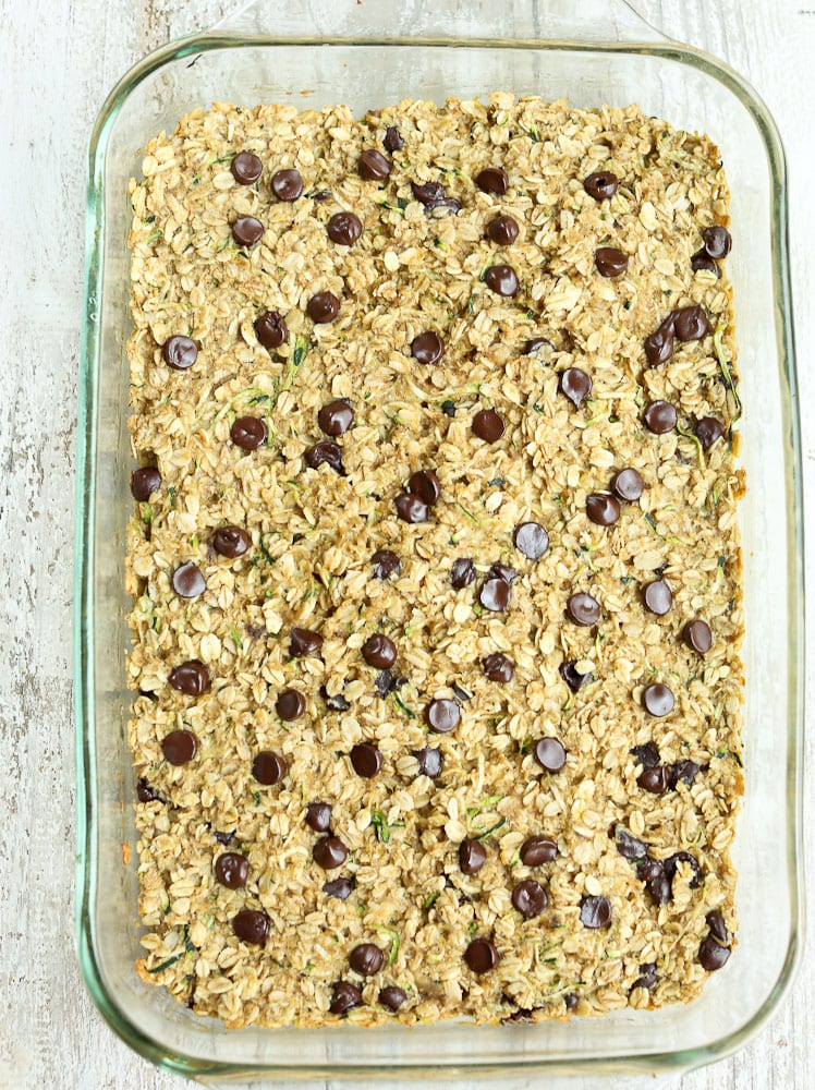 Fully Baked Zucchini oatmeal Snack Bars with Chocolate Chips