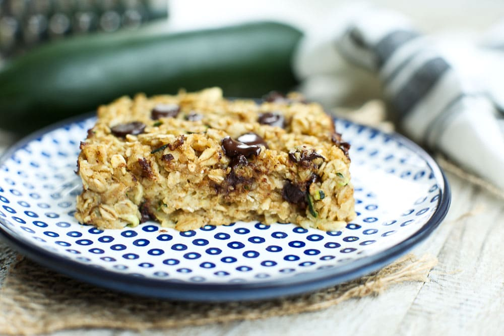 Zucchini oatmeal Snack Bars with Chocolate Chips
