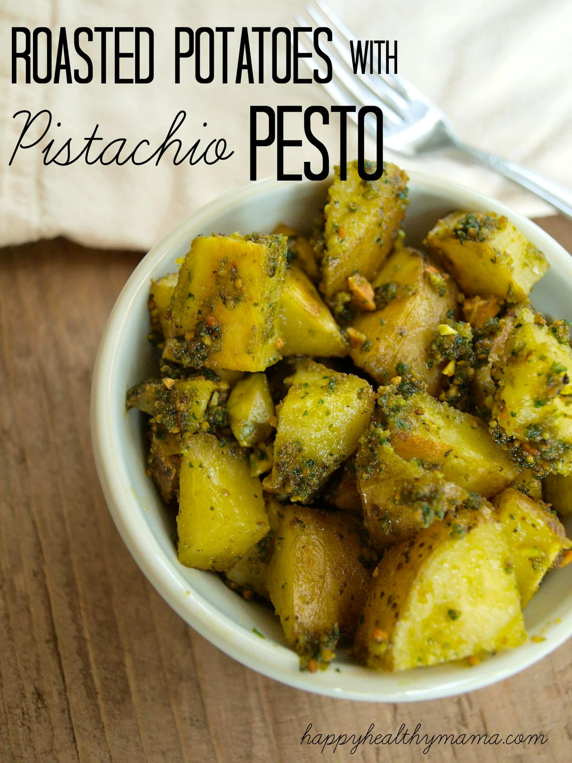 Roasted potatoes with pistachio pesto {vegan}