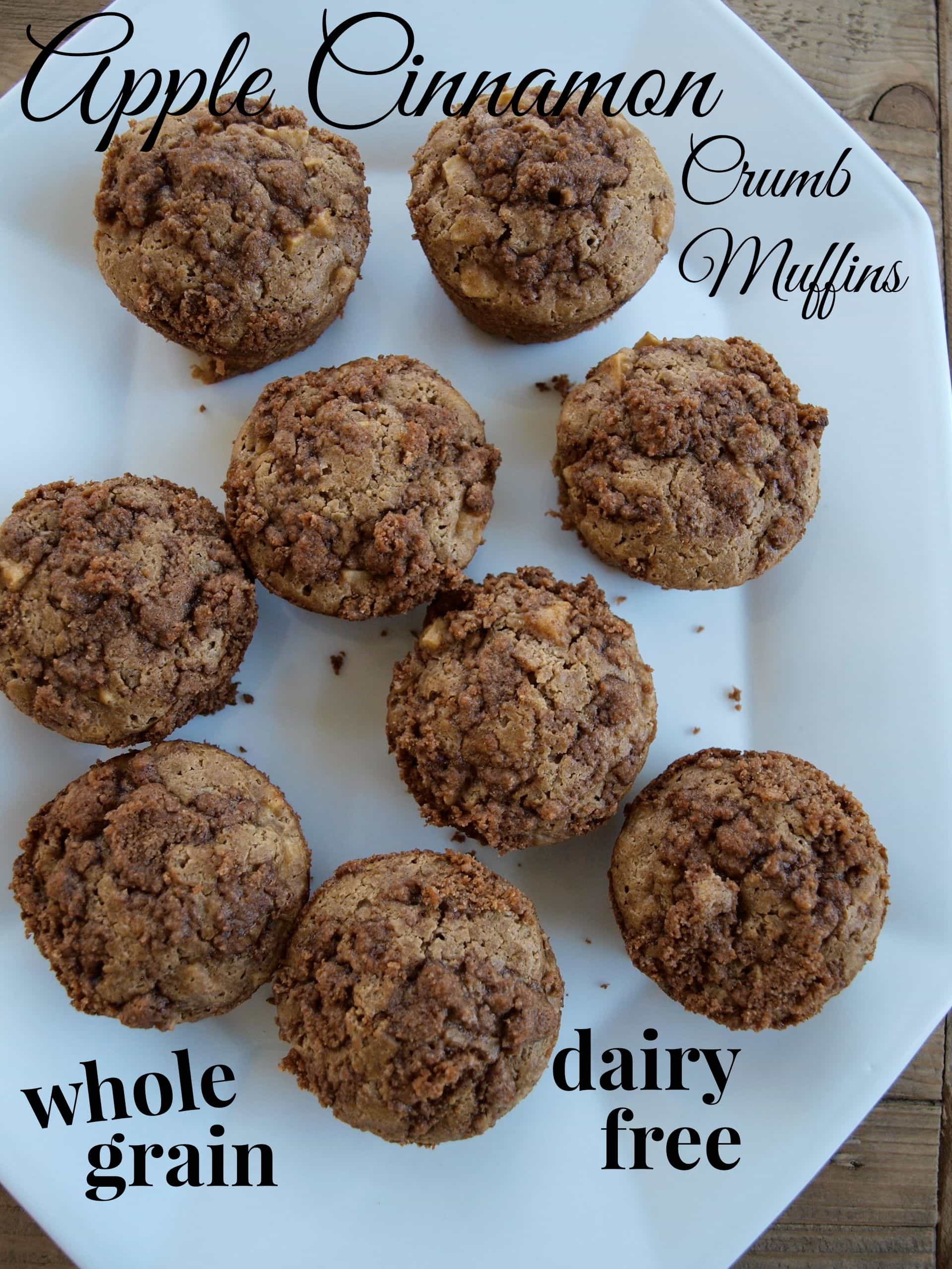 Healthy Apple Cinnamon Crumb Muffins. Whole grain and dairy-free.