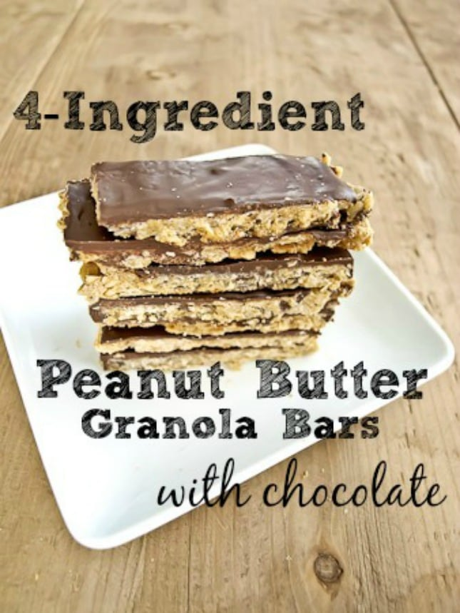 4-ingredient peanut butter granola bars with chocolate {vegan, gluten-free}