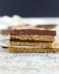 4-ingredient peanut butter granola bar recipe with chocolate, stacked up