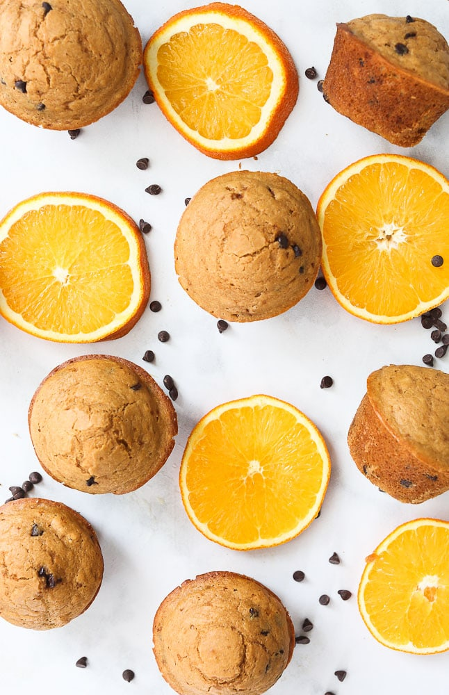 Orange Chocolate Chip Muffins recipe overhead shot