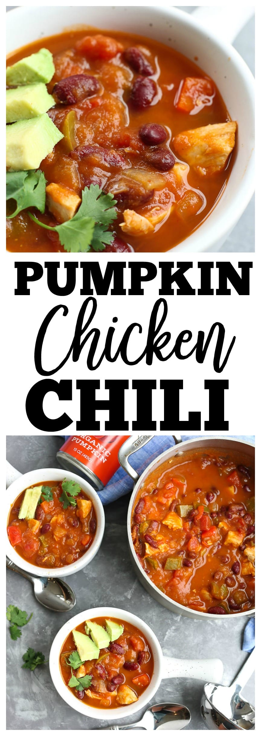 Pumpkin Chicken Chili Recipe. Dairy-free, gluten-free recipe, easy quick weeknight dinner
