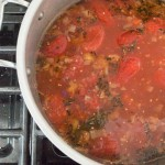 tomato barley soup with baby greens.  Healthy comfort food!