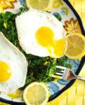 Lemony sautéed kale with runny eggs!