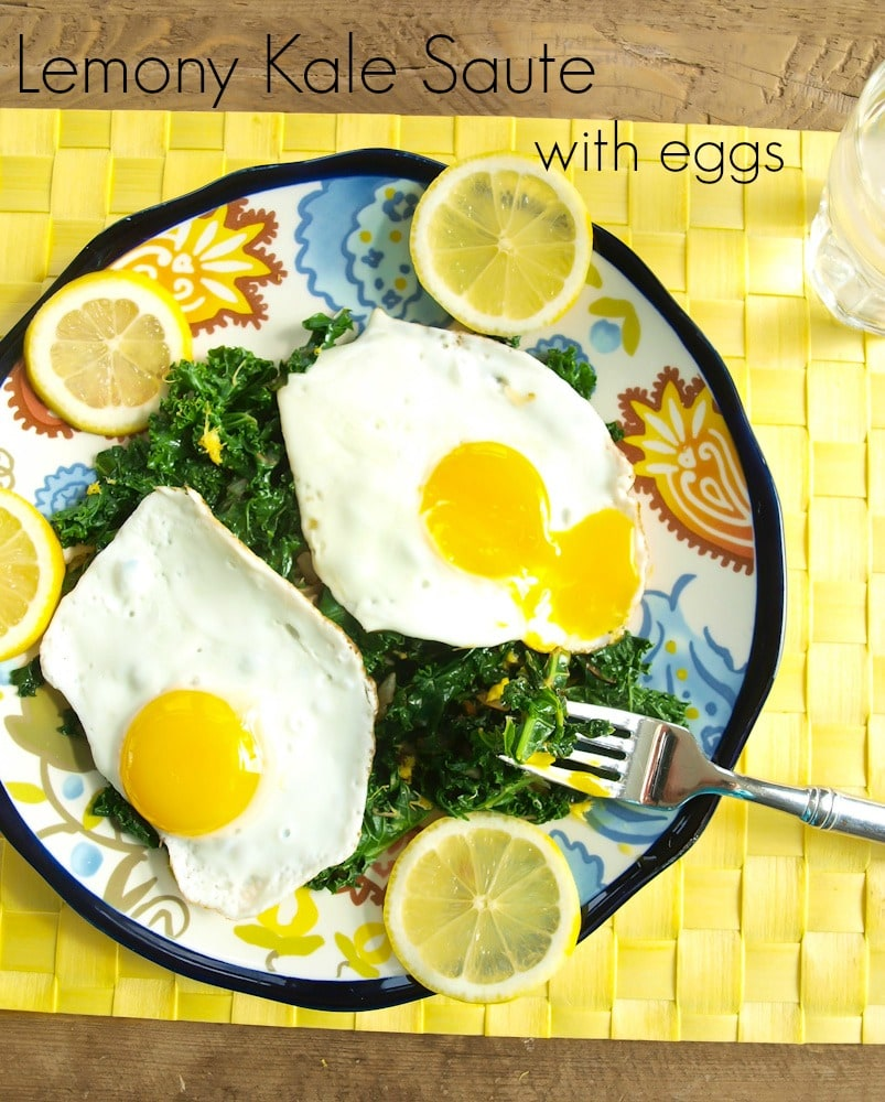 lemony kale sauté with eggs