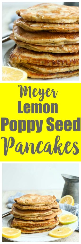 Healthy pancake recipe! This meyer lemon poppy seed pancake recipe is whole wheat, and make with yogurt for extra protein and the perfect light and fluffy texture. Great weekend breakfast idea.