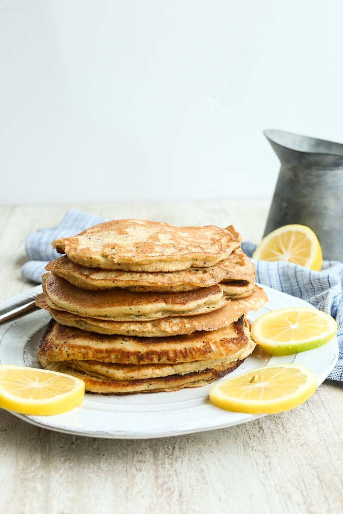 Recipe for the greatest Lemon Poppy Seed Pancakes with whole wheat flour and yogurt