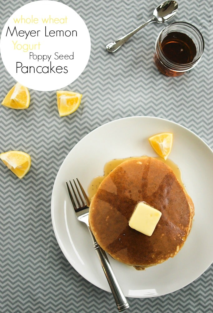Whole Wheat Meyer Lemon Poppyseed Yogurt Pancakes