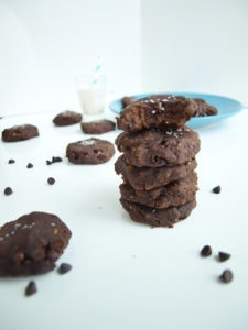 Salted Double Chocolate Peanut Butter Cookies.  These healthy, flourless cookies are INSANELY delicious.  Made with a secret ingredient: black beans!