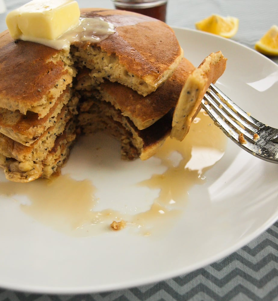 Whole Wheat Meyer Lemon Poppyseed Yogurt Pancakes // Happy Healthy ...