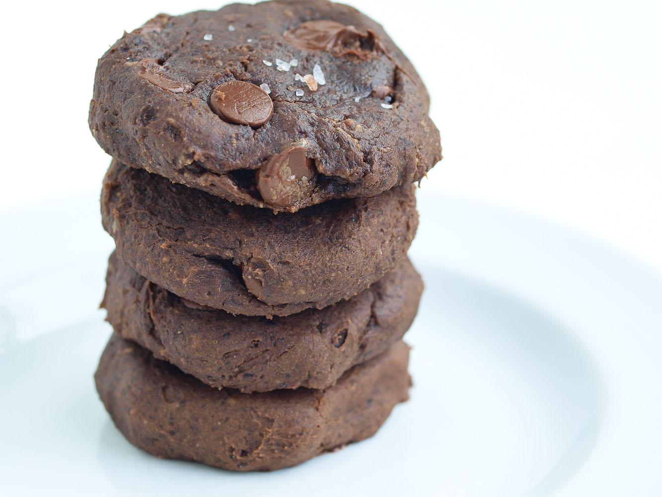 Salted Double Chocolate Peanut Butter Cookies - Happy Healthy Mama
