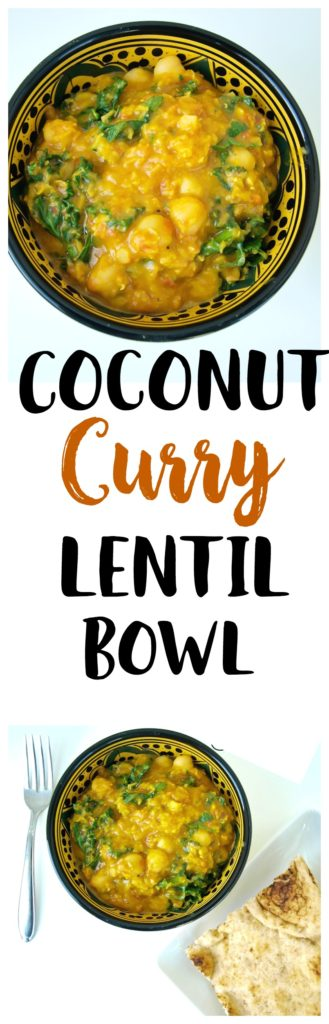 Coconut Curry Lentil Bowl Recipe. This is a vegan, gluten-free, healthy dinner recipe that is ready in about 30 minutes! Quick weeknight dinner idea