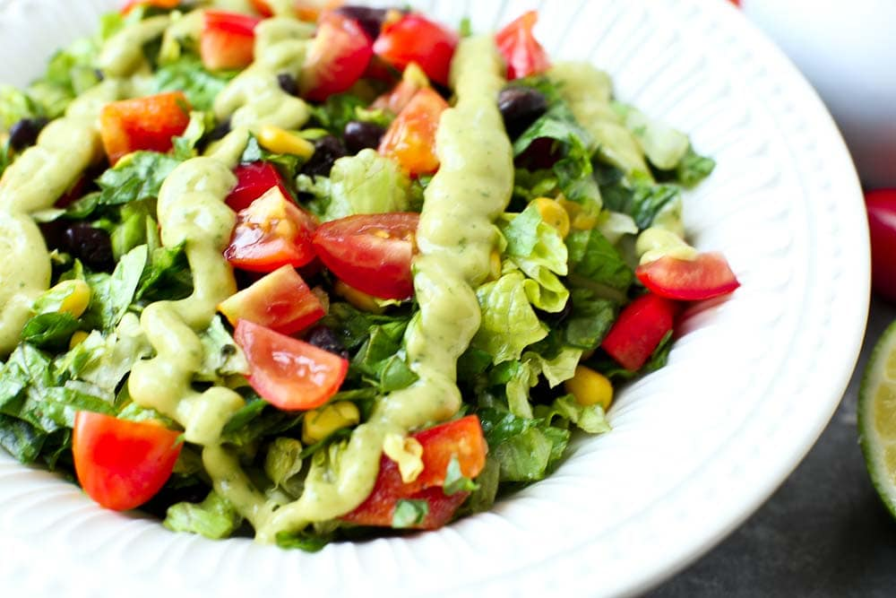 Close up picture showing Chopped Mexican Salad with Spicy Avocado Dressing
