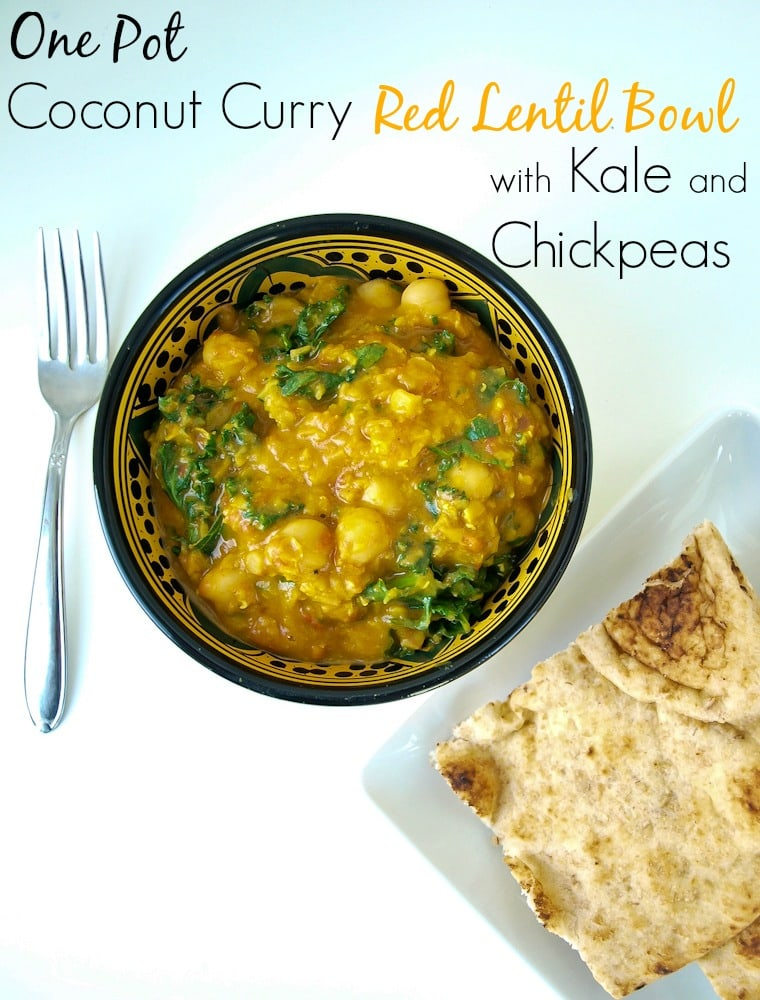 One pot coconut curry lentil bowl with chickpeas and kale