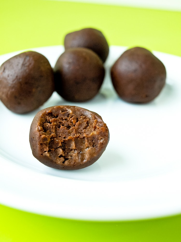 Chocolate Peanut Butter Energy balls recipe.  Made with black beans, these are full of nutrients and taste just like FUDGE.