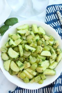 Cucumber Salad with Green Grapes and Avocado