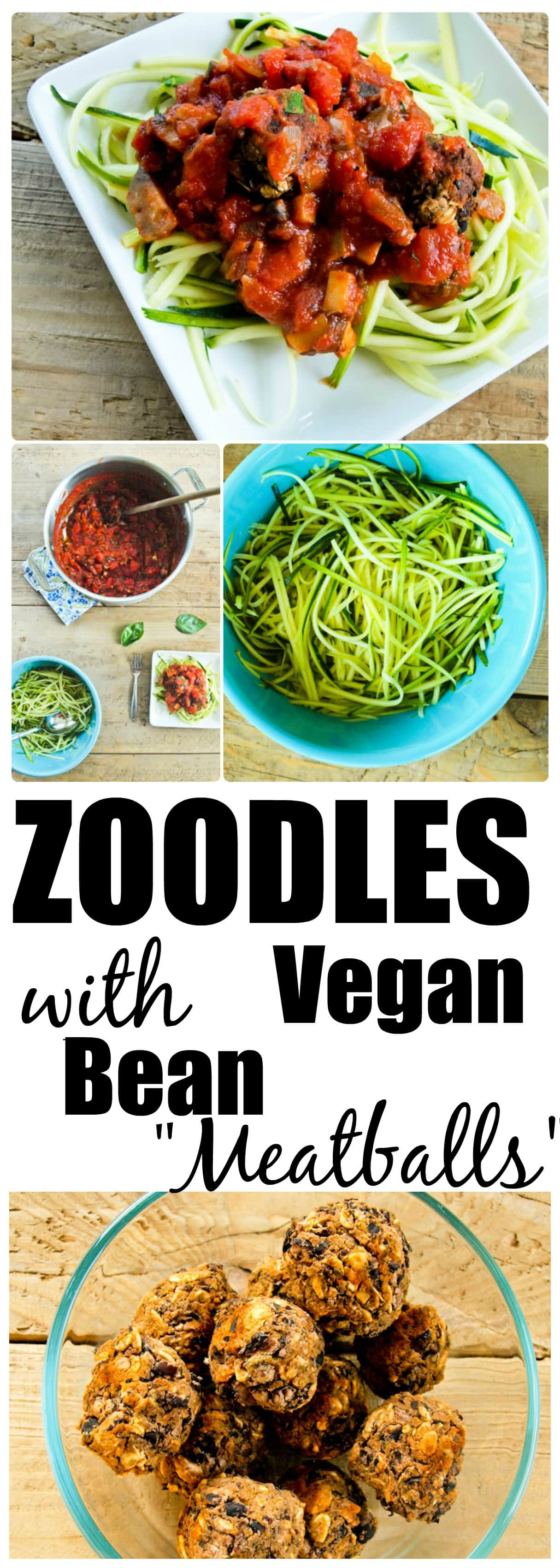 Healthy Zoodles Recipe with Chunky Tomato Sauce and Vegan Bean Balls. This is a perfect healthy summer recipe!