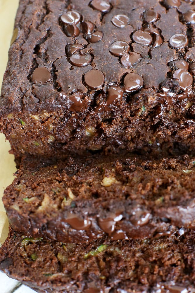 super close picture Double Chocolate Zucchini Banana Bread recipe with melty chocolate