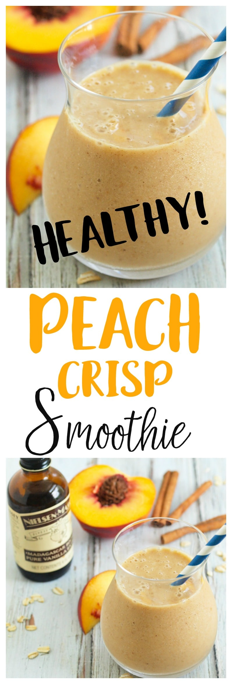 Peach Crisp Smoothie--a healthy smoothie recipe that tastes like dessert! Vegan and gluten-free