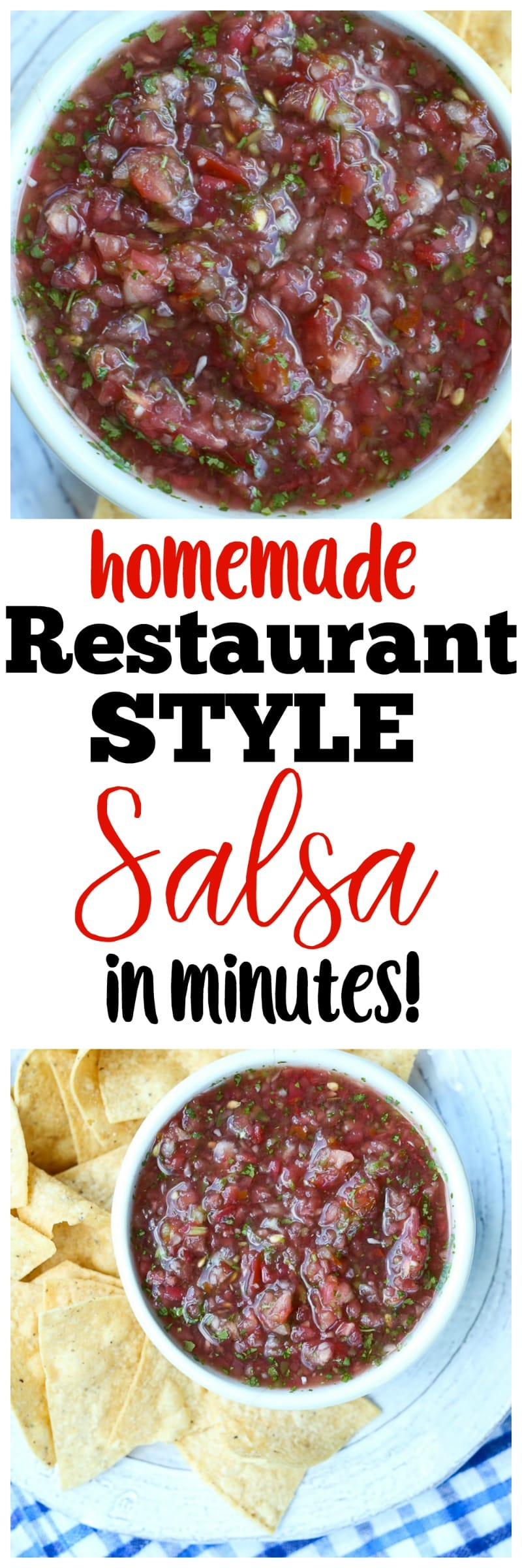 This restaurant style salsa recipe is made with fresh tomatoes and is ready in minutes! Quick, easy, delicious! The BEST! vegan   gluten-free   healthy   Paleo   snack   appetizer