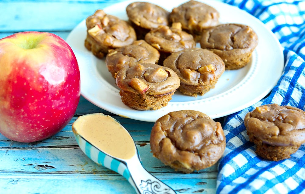 Apple Peanut Butter Flourless Blender Muffin Recipe easy 15 minutes