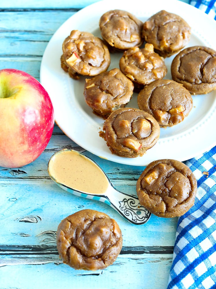 Apple Peanut Butter Blender Muffin Recipe overhead shot