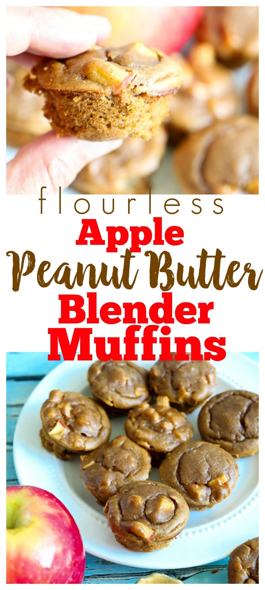Flourless 15 minutes Apple Peanut Butter Muffins. Gluten-free, healthy, perfect back to school recipe