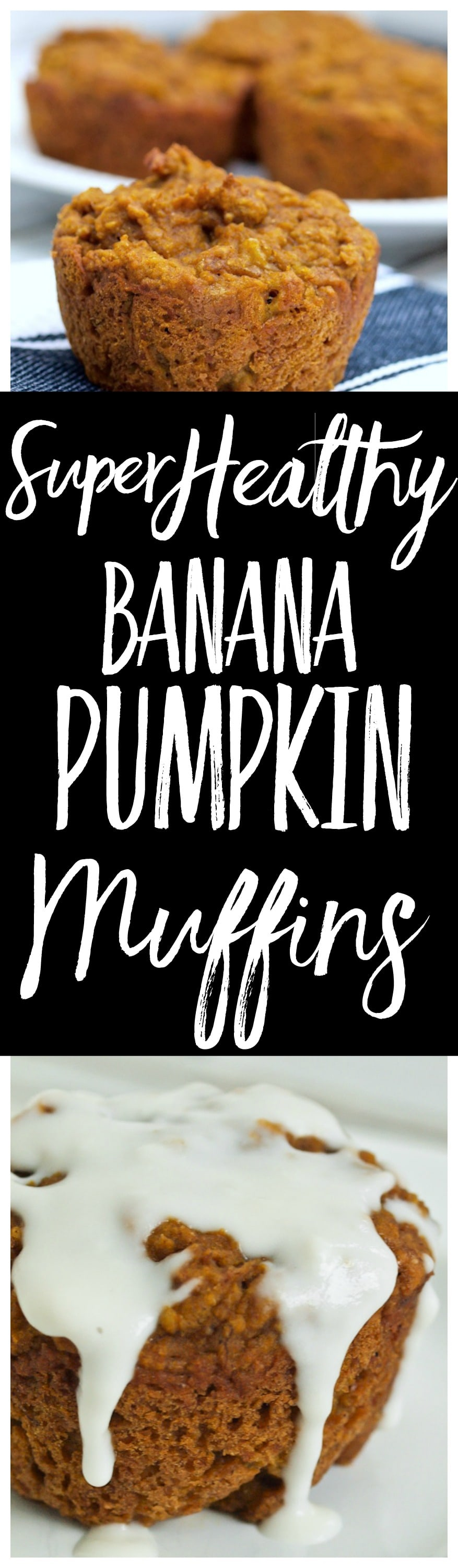 Super Healthy Banana Pumpkin Muffin Recipe! These are low sugar and bursting with lovely pumpkin spice flavor. A great healthy breakfast idea the whole family LOVES.
