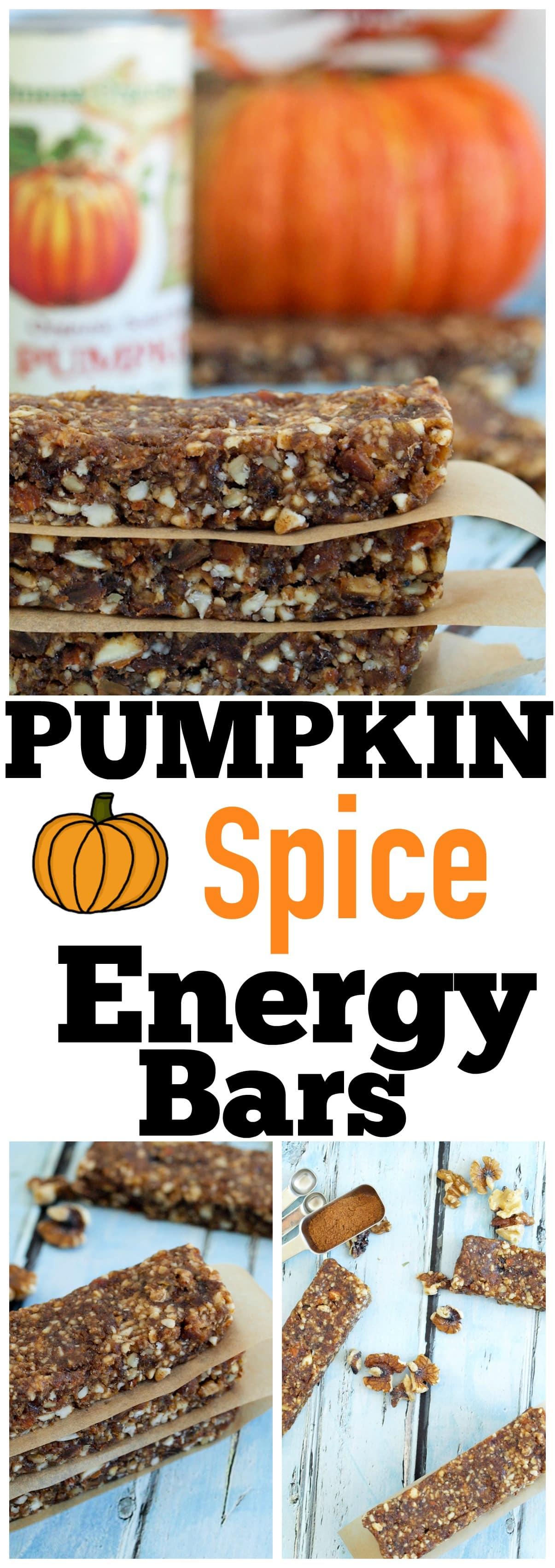 No Bake Pumpkin Spice energy bar recipe. healthy gluten-free snack ideas
