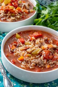 SLOW COOKER STUFFED PEPPER SOUP recipe in a bowl