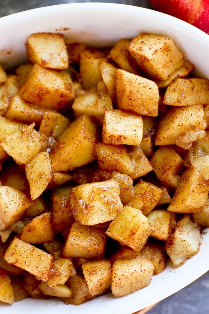 close up shot of glazed cinnamon baked apple recipe