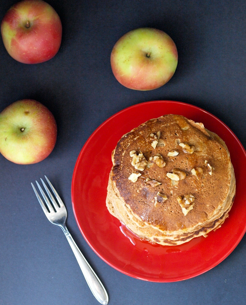 The Ultimate Whole Wheat Apple Pancakes - Happy Healthy Mama