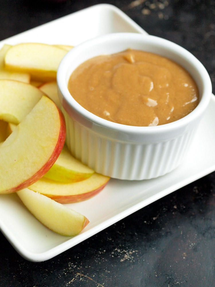 2-ingredient Vegan Caramel Dip.  This dip is SO easy and addicting! The perfect healthy after-school snack!
