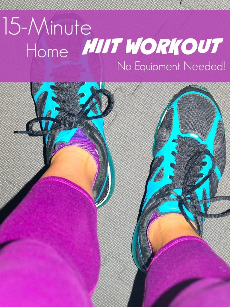 15 Minute Home HIIT workout.  No equipment required! This is the workout I'm doing Thanksgiving morning.  Might as well start out the day with a short, intense workout before gorging!