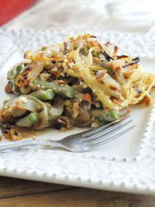 Traditional Green Bean Casserole just got a makeover! This healthier version is vegan and gluten-free. Put some REAL FOOD on your Thanksgiving table!!