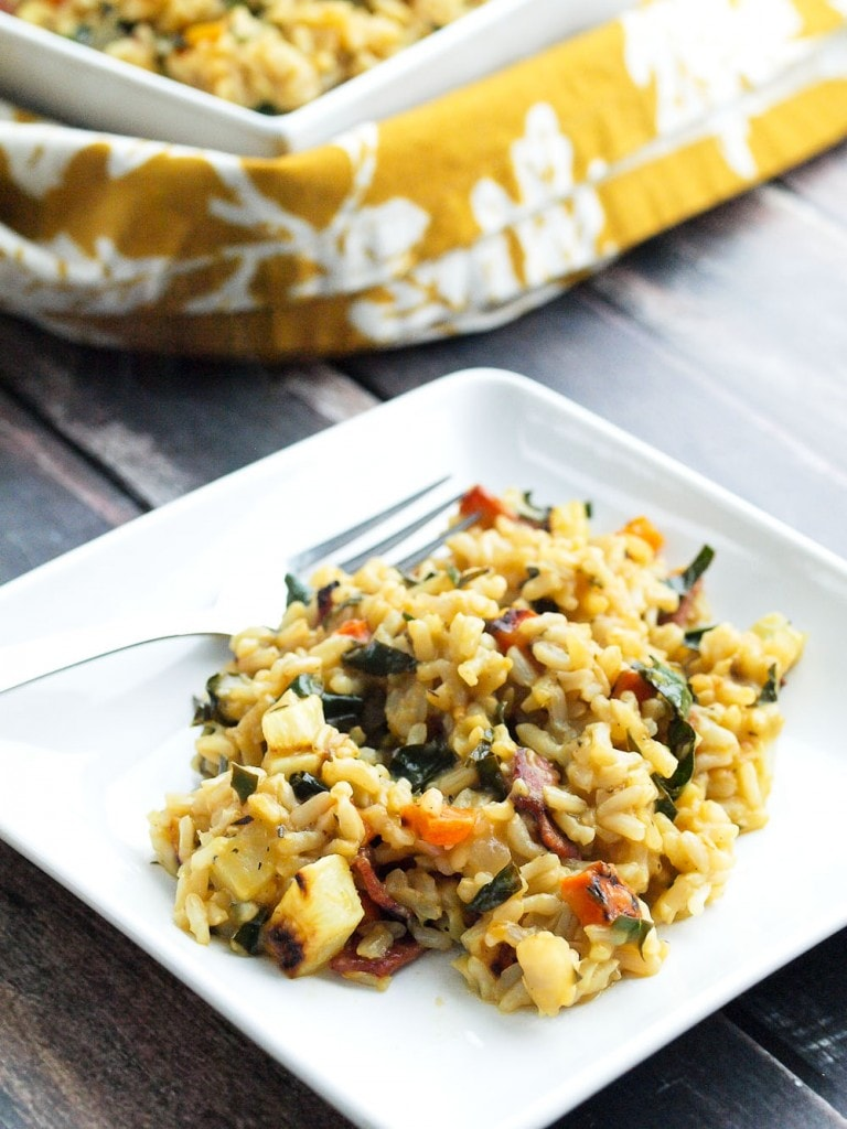 ... Vegetable Brown Rice Risotto with Bacon and Kale - Happy Healthy Mama