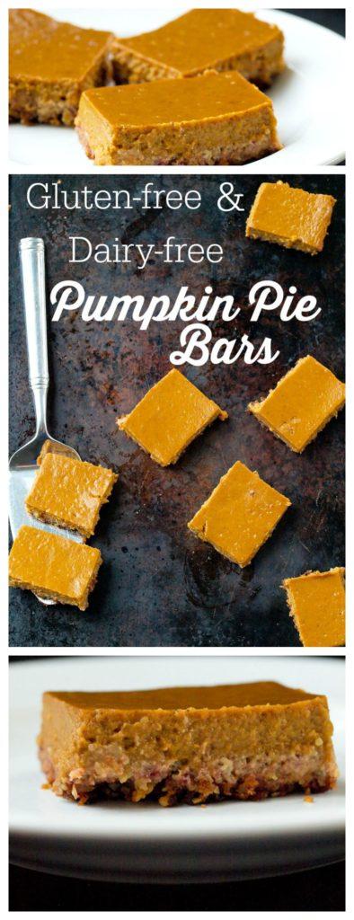 Gluten-free and Dairy-free Pumpkin Pie Bars Recipe #Thanksgivingrecipes #healthydessert #glutenfree #dairyfree