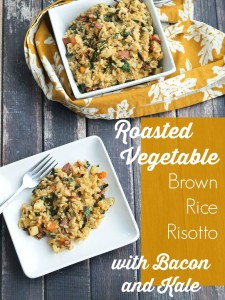 Roasted Vegetable Brown Rice Risotto with Bacon and Kale