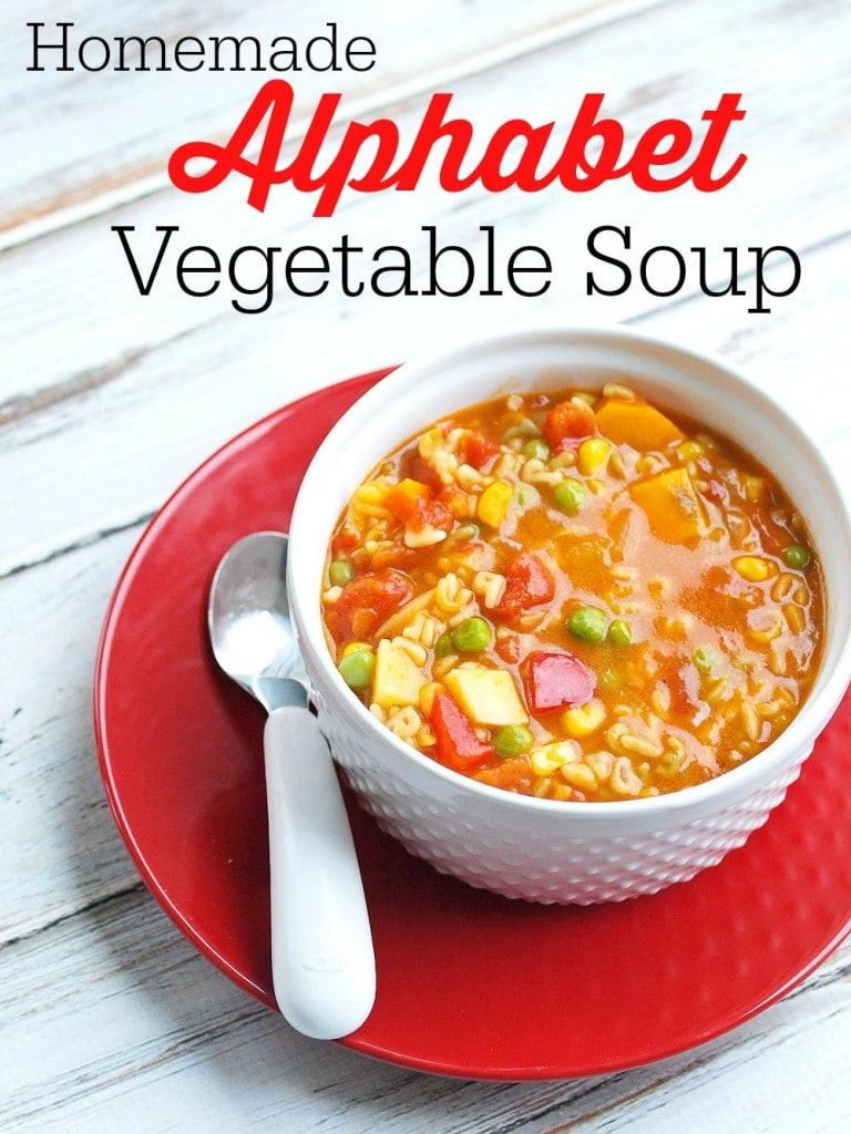 Baby it's cold outside--make soup! This homemade Alphabet Vegetable Soup is way better and healthier than Campbell's! AND you can have this ready in about 40 minutes! Use whatever vegetables and pasta shape you have on hand.