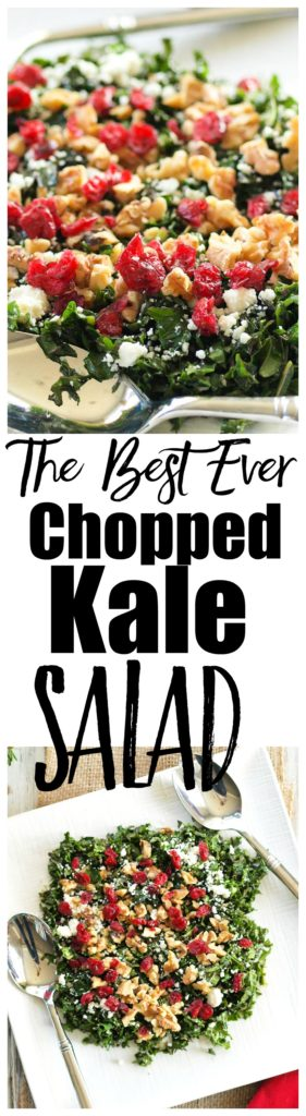 Chopped Kale Salad recipe. This is the best chopped kale salad recipe, made with feta, cranberries, and walnuts, it makes a beautiful addition to your holiday table! Great recipe for Christmas food.