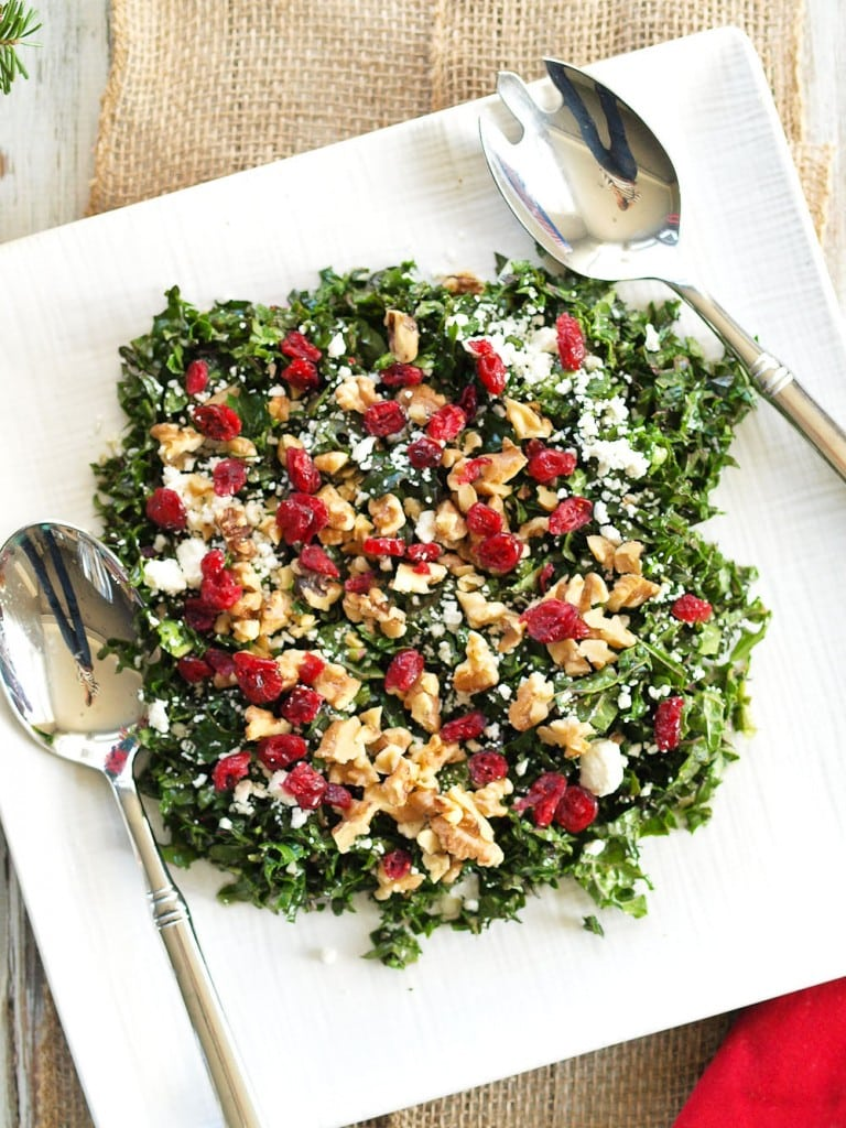 Chopped Kale Salad with Cranberries, Feta, and Walnuts. Yum! Kale never tasted so good. This is the BEST kale salad I've ever made. Quick, easy, and healthy. This would make a perfect holiday side dish!