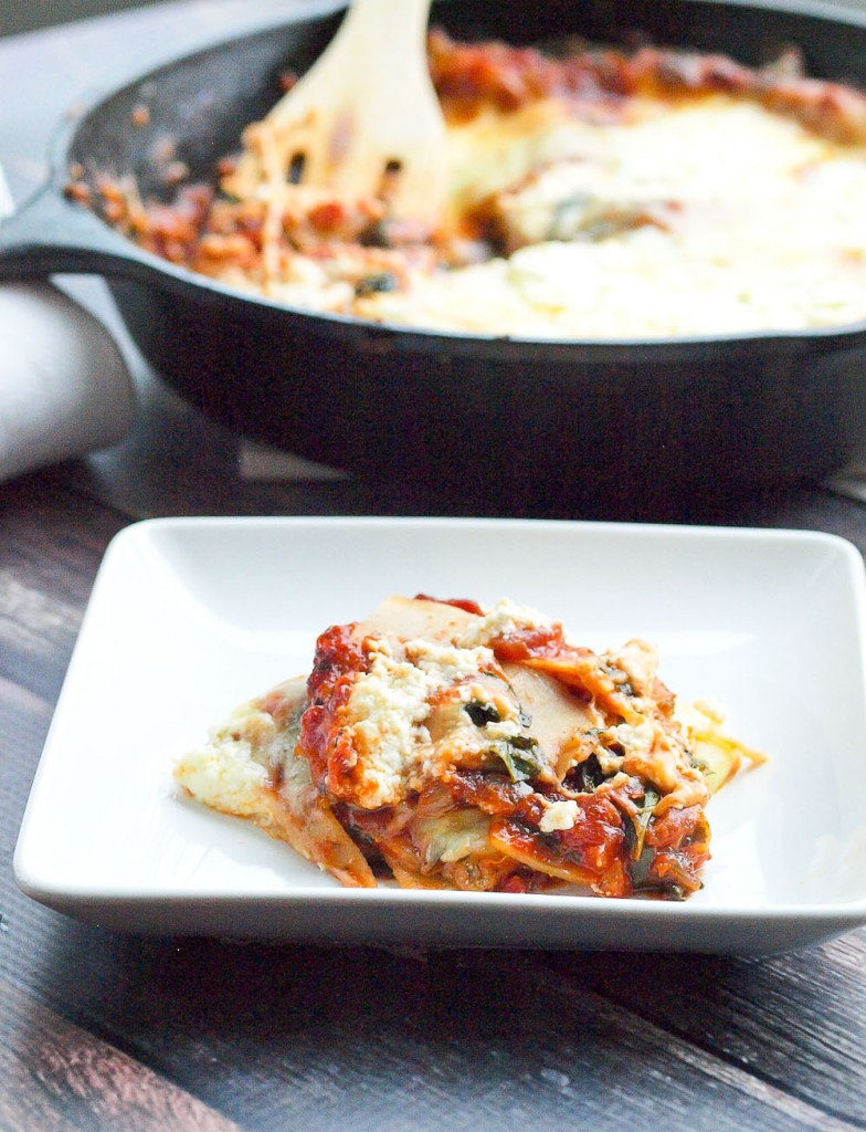You can welcome lasagna to your weeknight dinner table with this 30 MINUTE skillet lasagna! It seriously was ready in LESS than 30 minutes, start to finish. This is a spinach version--one of the best vegetarian lasagnas I've ever tasted! Great recipe!