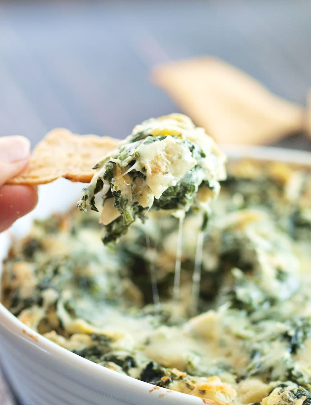game day and party appetizers with this SKINNY Spinach Artichoke Dip ...