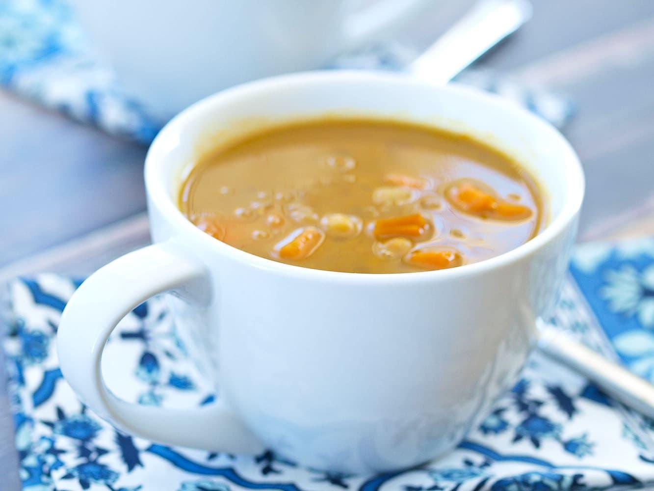 Crockpot Vegan Coconut Curry Chickpea Lentil Soup