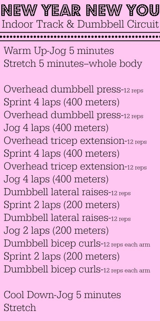 A Indoor Track and Dumbbell circuit.  Click over for more fitness inspiration and healthy recipes!