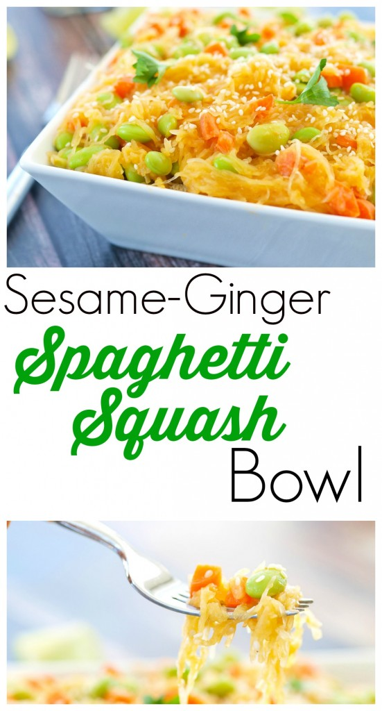 Sesame-Ginger Spaghetti Squash Bowl--this is a low-carb, vegan recipe that is flavorful and really easy to make!