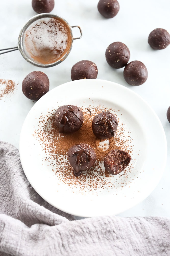 Chocolate Bliss Balls recipe overhead shot